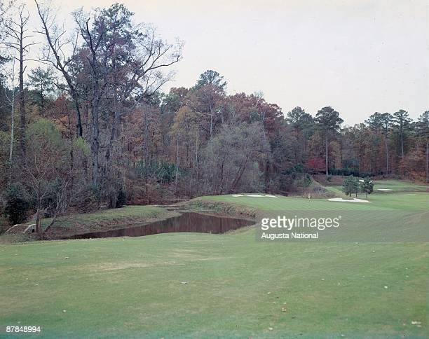 A general view of the 11th green and the 12th hole at Augusta National Golf Club in December 1957 in Augusta Georgia