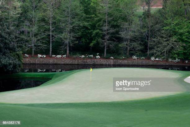 A general view of the 11th green taken during the first day of practice for the 2017 Masters Tournament on April 3 at Augusta National Golf Club in...