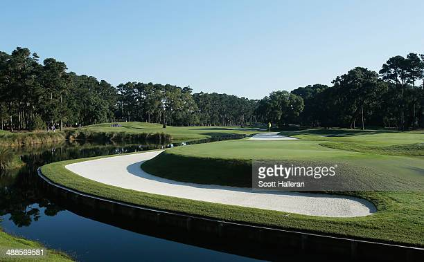 A general view of the 11th hole during a practice round ahead of THE PLAYERS Championship on The Stadium Course at TPC Sawgrass on May 7 2014 in...