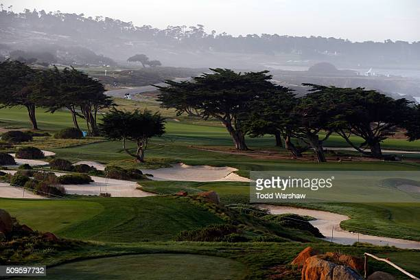 A general view of the 11th hole during the first round of the ATT Pebble Beach National ProAm at the Monterey Peninsula Country Club on February 11...