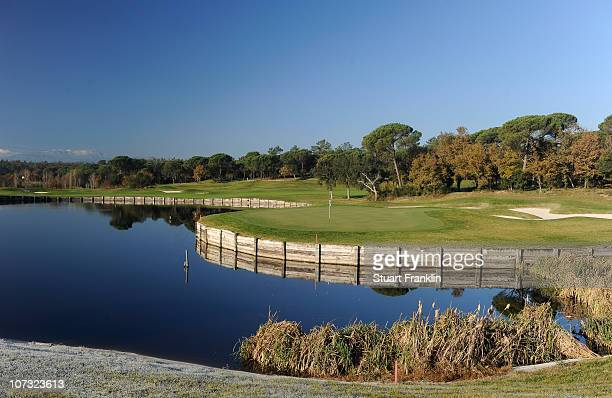 A general view of the 11th hole on the stadium course during the first day of the European Tour qualifying school final stage at PGA golf de...
