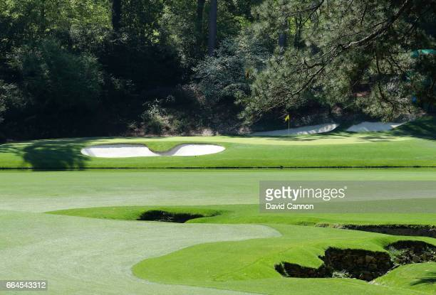 A general view of the 12th green is seen during a practice round prior to the start of the 2017 Masters Tournament at Augusta National Golf Club on...