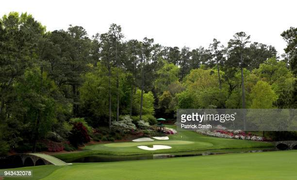 A general view of the 12th green is seen during the final round of the 2018 Masters Tournament at Augusta National Golf Club on April 8 2018 in...