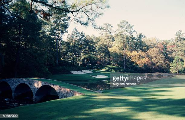 A general view of the 12th hole a part of Amen Corner during the 1981 Masters Tournament at Augusta National Golf Club in April 1981 in Augusta...