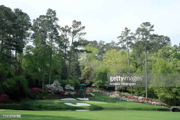 A general view of the 12th hole during a practice round prior to The Masters at Augusta National Golf Club on April 08 2019 in Augusta Georgia