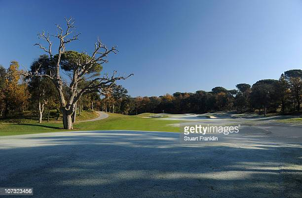A general view of the 12th hole on the stadium course during the first day of the European Tour qualifying school final stage at PGA golf de...