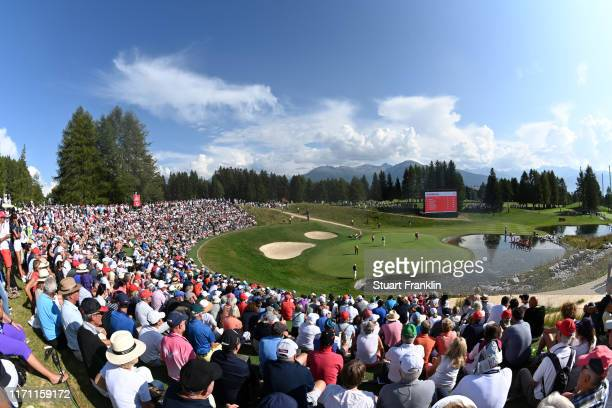 General view of the 13th green during Day Two of the Omega European Masters at Crans-sur-Sierre Golf Club on August 30, 2019 in Crans-Montana,...