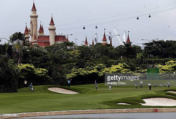 General view of the 13th green during the continuation of the rain delayed second round of the Barclays Singapore Open at the Sentosa Golf Club on...