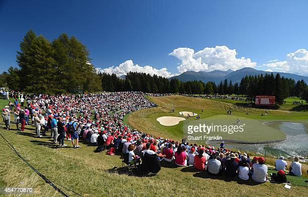 A general view of the 13th green during the third round of the Omega European Masters at CranssurSierre Golf Club on September 6 2014 in CransMontana...