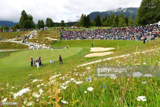 A general view of the 13th hole during Day Five of the Omega European Masters at CranssurSierre Golf Club on September 10 2017 in CransMontana...