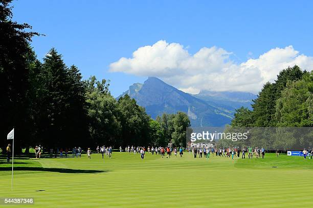General view of the 13th hole during the final round of the Swiss Seniors Open played at Golf Club Bad Ragaz on July 3, 2016 in Bad Ragaz,...