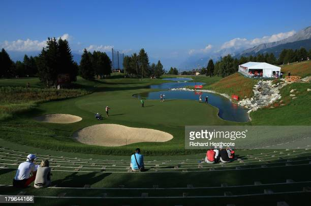 A general view of the 13th hole during the second round of the Omega European Masters at the CranssurSierre Golf Club on September 6 2013 in Crans...