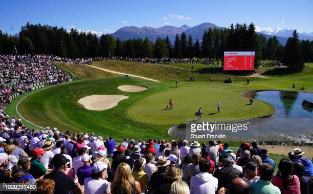 A general view of the 13th hole during the third round of The Omega European Masters at CranssurSierre Golf Club on September 8 2018 in CransMontana...