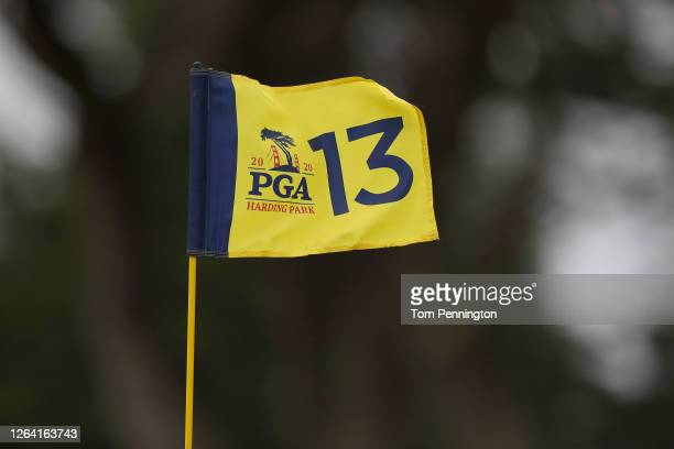 General view of the 13th hole flag during a practice round prior to the 2020 PGA Championship at TPC Harding Park on August 05, 2020 in San...