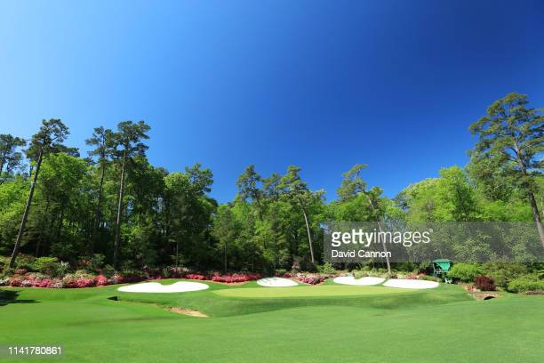 A general view of the 13th hole is seen during a practice round prior to the Masters at Augusta National Golf Club on April 09 2019 in Augusta Georgia