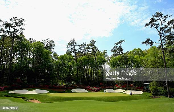 A general view of the 13th hole is seen during a practice round prior to the start of the 2015 Masters Tournament at Augusta National Golf Club on...