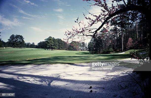A general view of the 13th hole is seen from a bunker at Augusta National Golf Club in March in Augusta Georgia