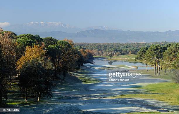A general view of the 13th hole on the stadium course during the first day of the European Tour qualifying school final stage at PGA golf de...