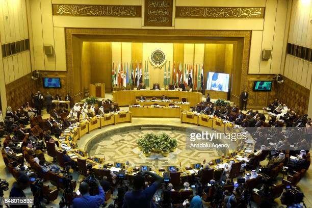 A general view of the 148th session of the Arab League Council at the level of foreign ministers is seen as Secretary General of the Arab League...
