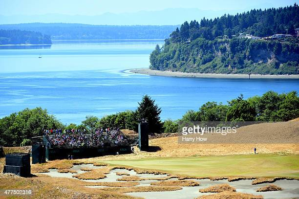 A general view of the 14th green is seen during a practice round prior to the start of the 115th US Open Championship at Chambers Bay on June 17 2015...