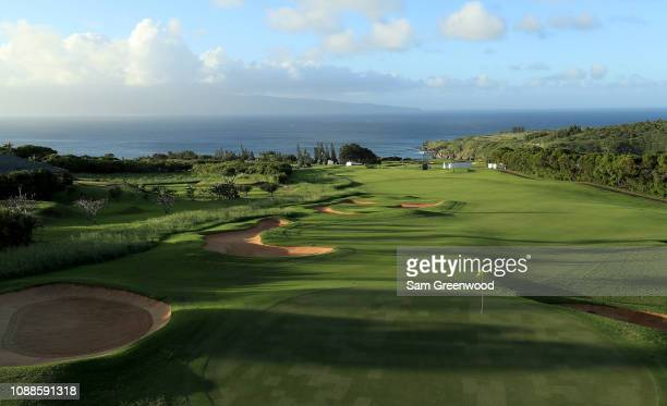 General view of the 14th hole as seen during a practice round prior to the Sentry Tournament of Champions at Kapalua Golf Club Plantation course on...