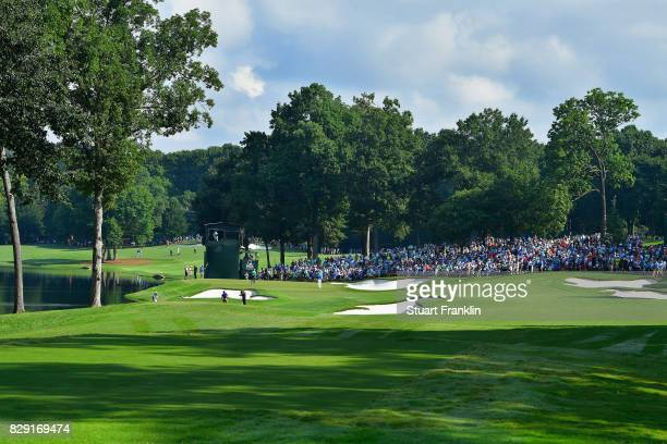 General view of the 14th hole during the first round of the 2017 PGA Championship at Quail Hollow Club on August 10, 2017 in Charlotte, North...