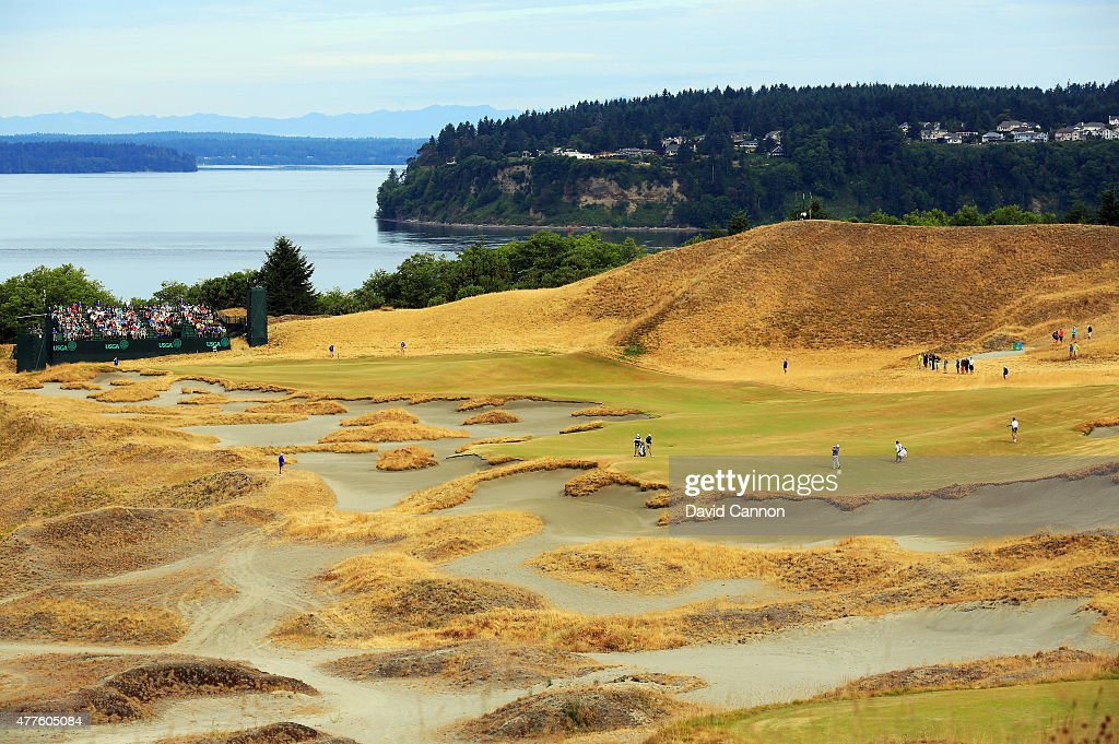 A general view of the 14th hole is seen during the first round of the 115th U.S. Open Championship at Chambers Bay on June 18, 2015 in University Place, Washington.
