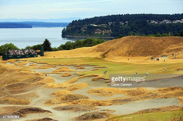 A general view of the 14th hole is seen during the first round of the 115th US Open Championship at Chambers Bay on June 18 2015 in University Place...