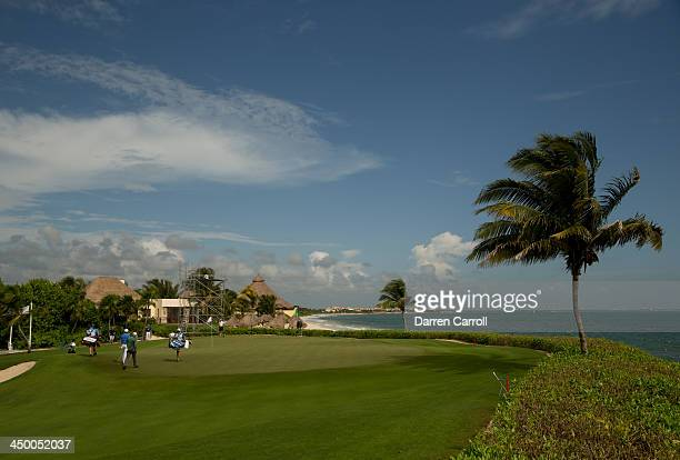 General view of the 15th green as seen during continuation the second round of the 2013 OHL Classic at Mayakoba played at El Camaleon Golf Club on...