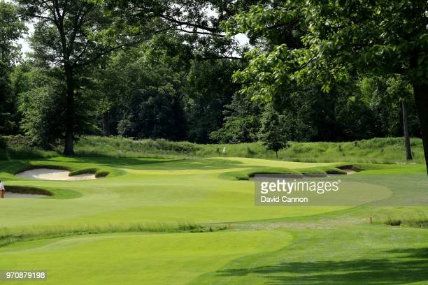 A general view of the 15th green during the afternoon foursomes matches in the 2018 Curtis Cup Match at Quaker Ridge Golf Club on June 9 2018 in...