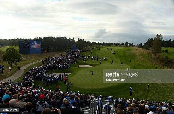 General view of the 15th green during the Singles Matches of the 2014 Ryder Cup on the PGA Centenary course at the Gleneagles Hotel on September 28,...