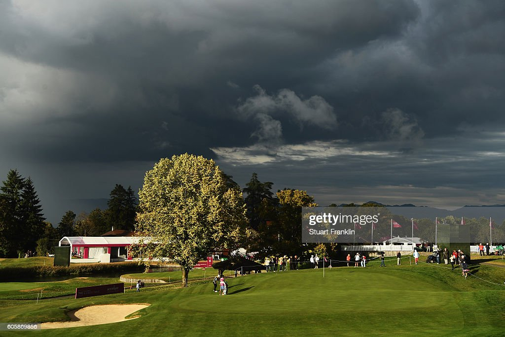 A general view of the 15th hole during the first round of The Evian Championship on September 15, 2016 in Evian-les-Bains, France.