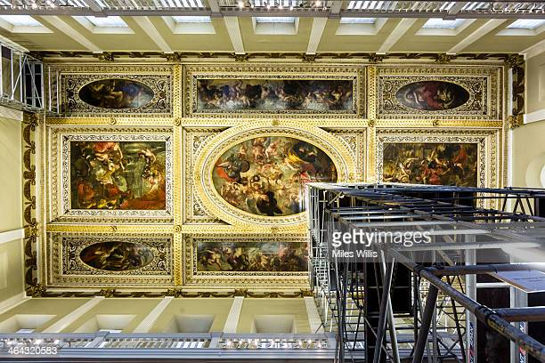 General view of the 1634 Rubens ceiling during a conditioning survey at Banqueting House on January 21, 2014 in London, England. Flemish artist Sir...