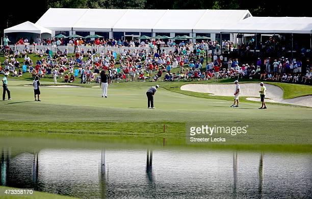 A general view of the 16th and 17th holes during round one at the Wells Fargo Championship at Quail Hollow Club on May 14 2015 in Charlotte North...