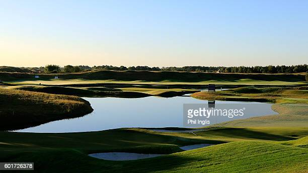 A general view of the 16th and 18th greens during the second round of the Paris Legends Championship played on L'Albatros Course at Le Golf National...