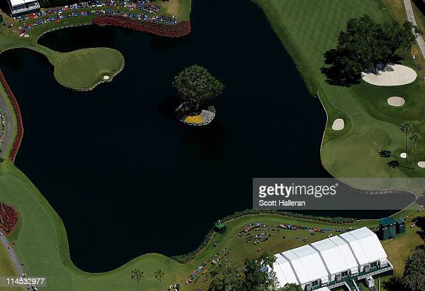 A general view of the 16th green and 17th hole is seen from the MetLife Blimp during the final round of THE PLAYERS Championship held at THE PLAYERS...