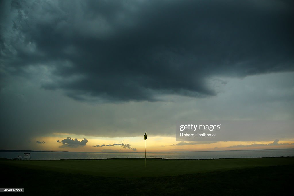 A general view of the 16th green as foul weather approaches during the second round of the 2015 PGA Championship at Whistling Straits on August 14, 2015 in Sheboygan, Wisconsin.