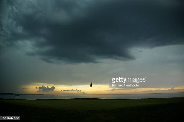 General view of the 16th green as foul weather approaches during the second round of the 2015 PGA Championship at Whistling Straits on August 14,...