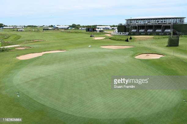 General view of the 16th green during a practice round prior to the AT&T Byron Nelson on May 06, 2019 at Trinity Forest Golf Club in Irving, Texas.