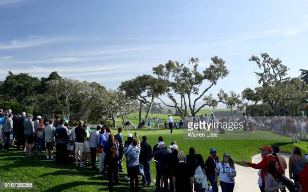 A general view of the 16th green during Round Three of the ATT Pebble Beach ProAm at Spyglass Hill Golf Course on February 10 2018 in Pebble Beach...