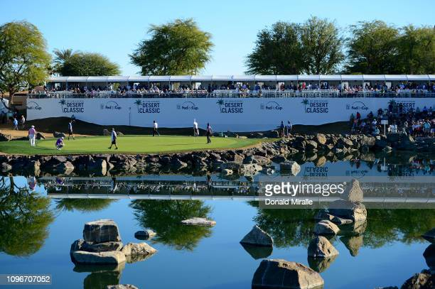 General view of the 16th green during the third round of the Desert Classic at the Stadium Course on January 19, 2019 in La Quinta, California.