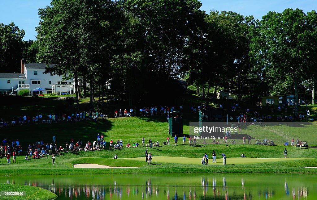 A general view of the 16th green is seen during the second round of the Travelers Championship at the TPC River Highlands on August 5, 2016 in Cromwell, Connecticut.