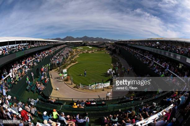 A general view of the 16th hole as Kevin Na plays his tee shot during the final round of the Waste Management Phoenix Open at TPC Scottsdale on...