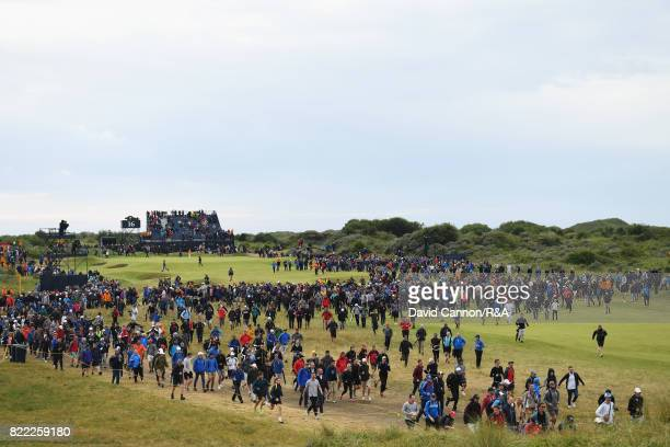 A general view of the 16th hole as spectators move in to position during the final round of the 146th Open Championship at Royal Birkdale on July 23...