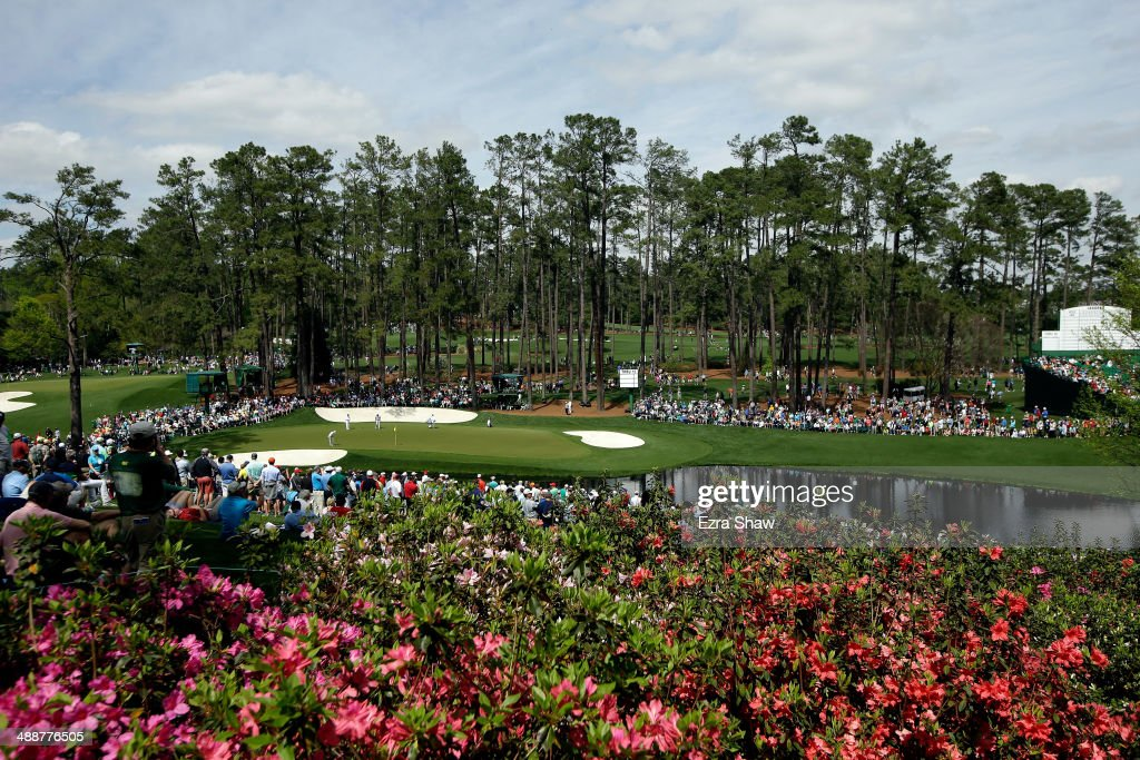 A general view of the 16th hole during a practice round at Augusta National Golf Club on April 8, 2014 in Augusta, Georgia.