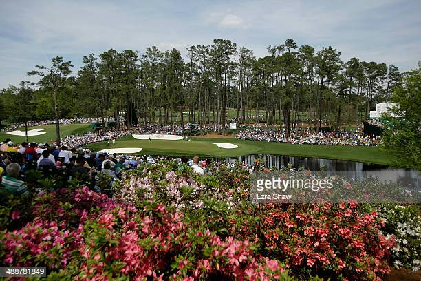 A general view of the 16th hole during the second round of the 2014 Masters Tournament at Augusta National Golf Club on April 11 2014 in Augusta...