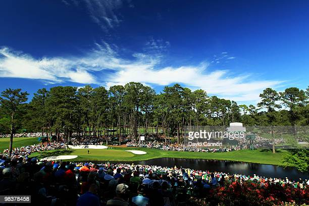 A general view of the 16th hole is seen during the third round of the 2010 Masters Tournament at Augusta National Golf Club on April 10 2010 in...