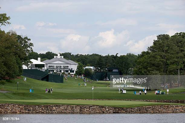 General view of the 17th green and the 18th hole ahead of the 2016 Wells Fargo Championship at Quail Hollow Club on May 11, 2016 in Charlotte, North...