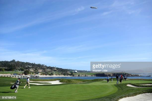 A general view of the 17th green during Round Three of the ATT Pebble Beach ProAm at Pebble Beach Golf Links on February 10 2018 in Pebble Beach...