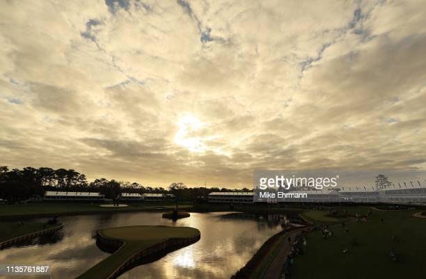 A general view of the 17th green during the first round of The PLAYERS Championship on The Stadium Course at TPC Sawgrass on March 14 2019 in Ponte...